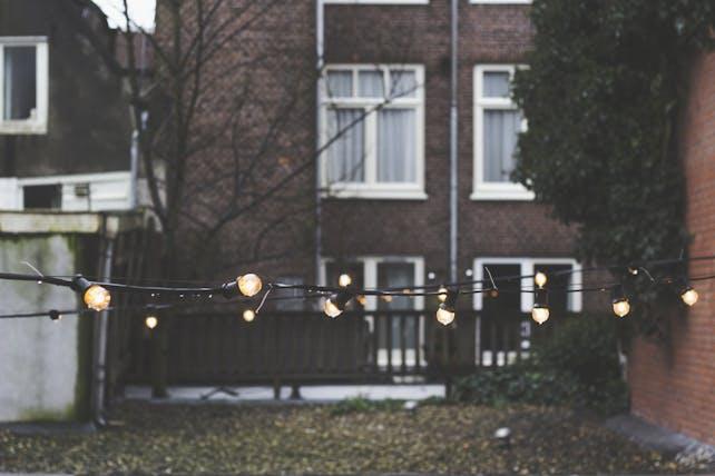 lichtslingers in de tuin