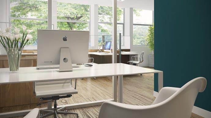 rustige kleuren bij inrichting op kantoor